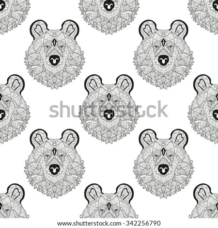 Elegant seamless pattern with hand drawn decorative bears, design elements. Can be used for invitations, greeting cards, scrapbooking, print, gift wrap, manufacturing. Animal theme - stock vector
