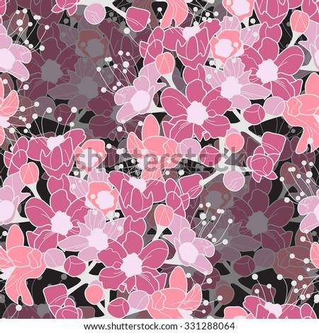 Elegant seamless pattern with hand drawn decorative cherry flowers, design elements. Floral pattern for wedding invitations, greeting cards, scrapbooking, print, gift wrap, manufacturing - stock vector