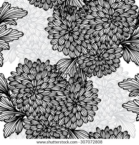 Elegant seamless pattern with hand drawn decorative chrysanthemum flowers, design elements. Floral pattern for wedding invitations, greeting cards, scrapbooking, print, gift wrap, manufacturing. - stock vector