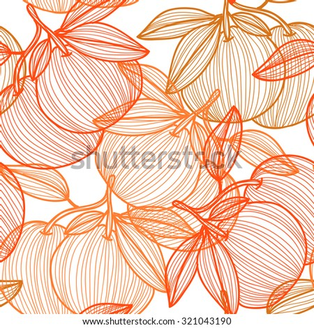 Elegant seamless pattern with hand drawn decorative grapefruits, design elements. Can be used for invitations, greeting cards, scrapbooking, print, gift wrap, manufacturing. Food background - stock vector