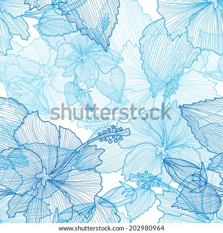 Elegant seamless pattern with hand drawn decorative hibiscus flowers, design elements. Floral pattern for wedding invitations, greeting cards, scrapbooking, print, gift wrap, manufacturing. - stock vector