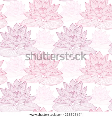 Elegant seamless pattern with hand drawn decorative lotus flowers, design elements. Floral pattern for wedding invitations, greeting cards, scrapbooking, print, gift wrap, manufacturing.