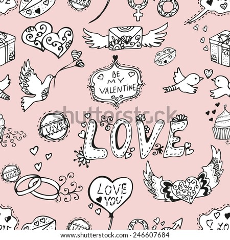 Elegant seamless pattern with hand drawn decorative love symbols, design elements. Can be used for valentines day, wedding invitations, greeting cards, scrapbooking, print, gift wrap, manufacturing - stock vector