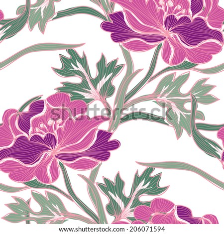 Elegant seamless pattern with hand drawn decorative peony flowers, design elements. Floral pattern for wedding invitations, greeting cards, scrapbooking, print, gift wrap, manufacturing. - stock vector