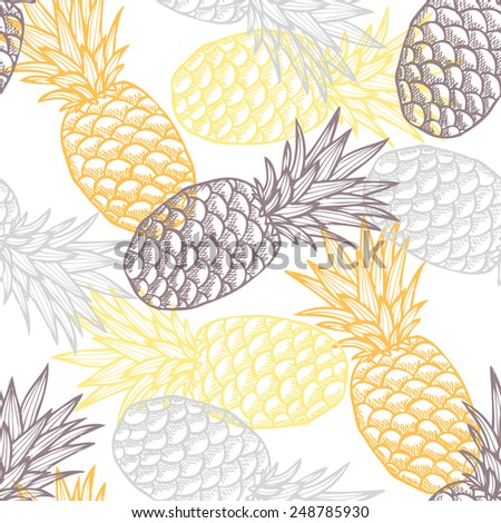 Elegant seamless pattern with hand drawn decorative pineapples, design elements. Can be used for invitations, greeting cards, scrapbooking, print, gift wrap, manufacturing. Food background - stock vector