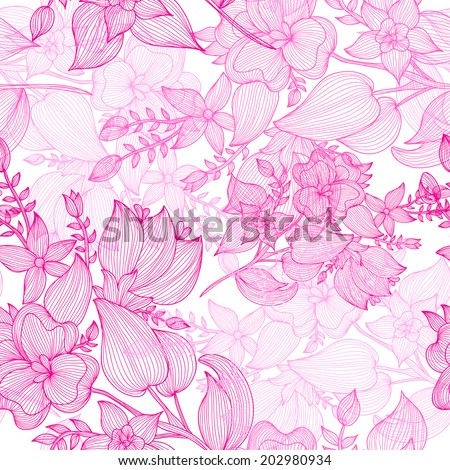 Elegant seamless pattern with hand drawn decorative pink flowers, design elements. Floral pattern for wedding invitations, greeting cards, scrapbooking, print, gift wrap, manufacturing. - stock vector
