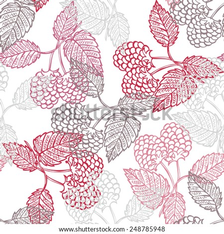 Elegant seamless pattern with hand drawn decorative raspberry fruits, design elements. Can be used for invitations, greeting cards, scrapbooking, print, gift wrap, manufacturing. Food background - stock vector