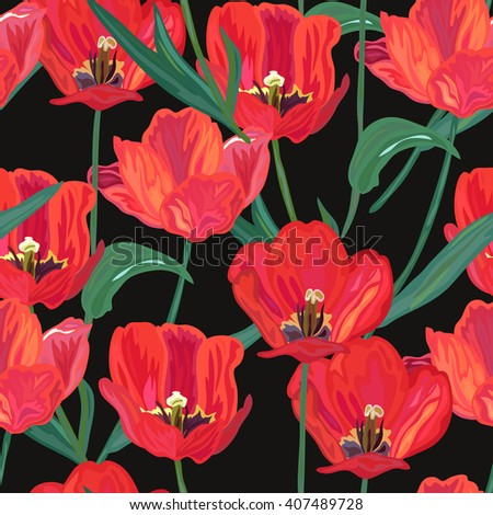 Elegant seamless pattern with hand drawn decorative red tulip flowers, design elements. Floral pattern for invitations, cards, scrapbooking, print, gift wrap, fabric - stock vector