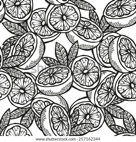 Elegant seamless pattern with hand drawn decorative sliced grapefruits, design elements. Can be used for invitations, greeting cards, scrapbooking, print, gift wrap, manufacturing. Food background - stock vector