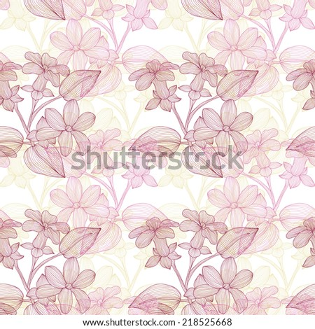 Elegant seamless pattern with hand drawn decorative stephanotis flowers, design elements. Floral pattern for wedding invitations, greeting cards, scrapbooking, print, gift wrap, manufacturing. - stock vector