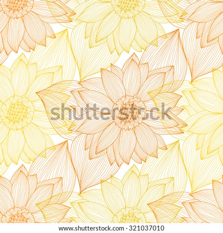 Elegant seamless pattern with hand drawn decorative sunflowers, design elements. Floral pattern for wedding invitations, greeting cards, scrapbooking, print, gift wrap, manufacturing. - stock vector