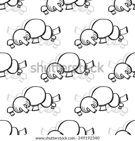Elegant seamless pattern with hand drawn mushrooms, design elements. Can be used for invitations, greeting cards, scrapbooking, print, gift wrap, manufacturing. Food background