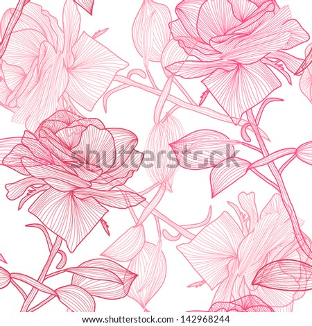 elegant seamless pattern with hand drawn pink roses for your design - stock vector