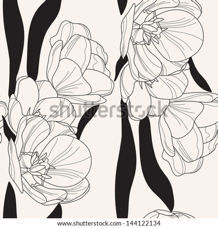 elegant seamless pattern with hand drawn tulips for your design - stock vector
