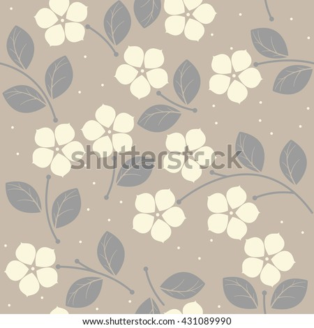 Elegant seamless pattern with pastel flowers and leaves can be used for wallpapers, surface textures, textile, kids cloth, pattern fills and more creative designs.  - stock vector