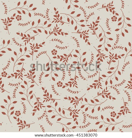 Elegant seamless pattern with red flowers and leaves can be used for design fabric, linen, tile , wallpaper.