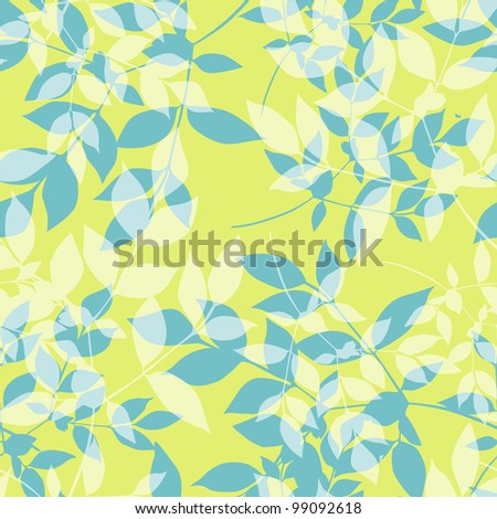 elegant seamless pattern with spring leaves in blue green colors, for your design - stock vector