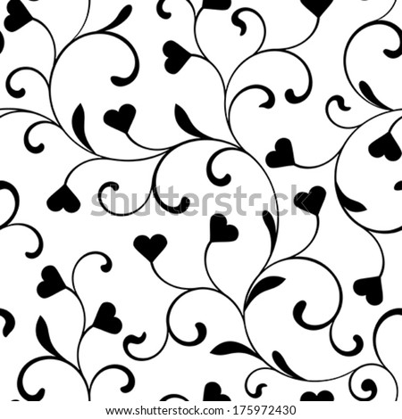 Elegant seamless pattern with swirls and hearts on a white background - stock vector