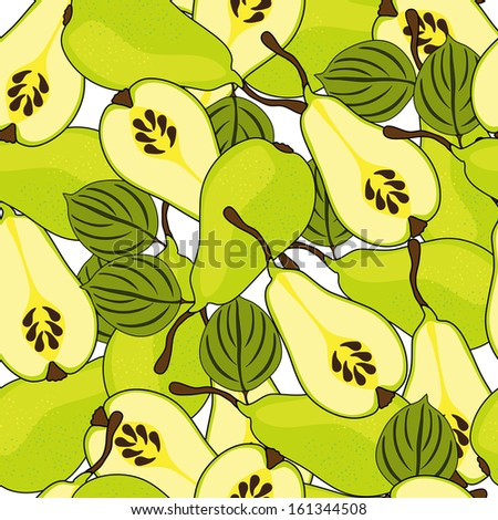 elegant seamless pattern with tasty pears for your design - stock vector