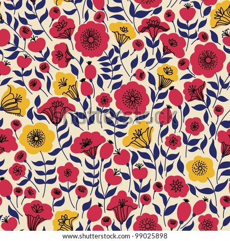 Elegant seamless pattern with yellow and pink flowers, vector illustration - stock vector