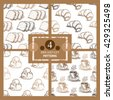 Elegant seamless patterns set with cappuccino cups, brioches, croissants and rusk bread, design elements. Can be used for food invitations, cards, print, gift wrap, manufacturing, cafe, bakery - stock vector