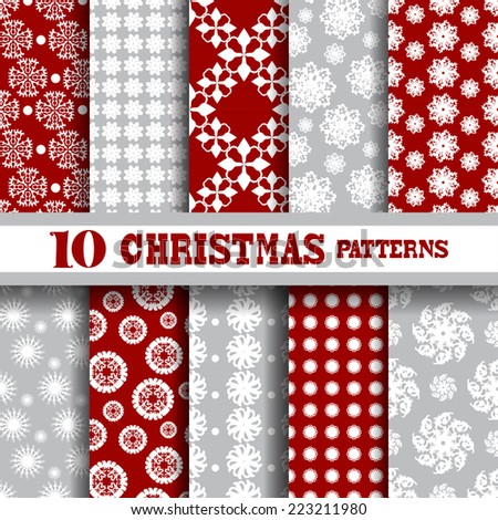 Elegant seamless patterns with hand drawn decorative snowflakes, design elements. Winter patterns for holiday invitations, greeting cards, scrapbooking, print, gift wrap, manufacturing. - stock vector