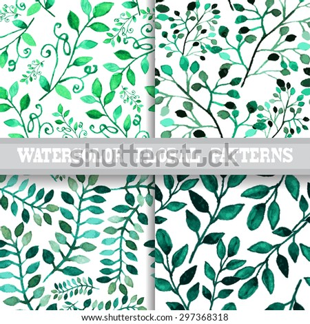 Elegant seamless patterns with watercolor painted flowers, design elements. Floral patterns for wedding invitations, greeting cards, scrapbooking, print, gift wrap, manufacturing - stock vector