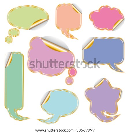 Elegant Set of Colorful Comic Clouds with Golden Contour - stock vector