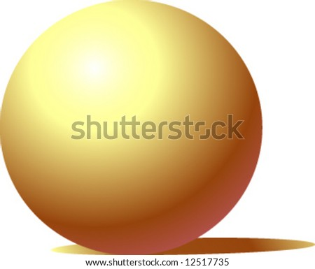 Elegant shiny gold ball with shadow - stock vector