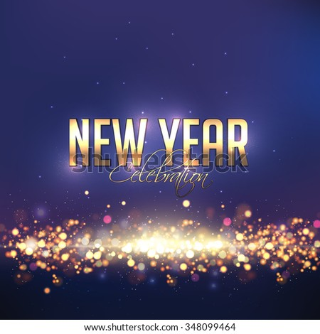 Elegant shiny greeting card design for Happy New Year celebration. - stock vector