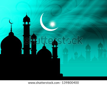 elegant shiny religious blue color eid background with beautiful mosque,moon and stars. vector illustration. - stock vector