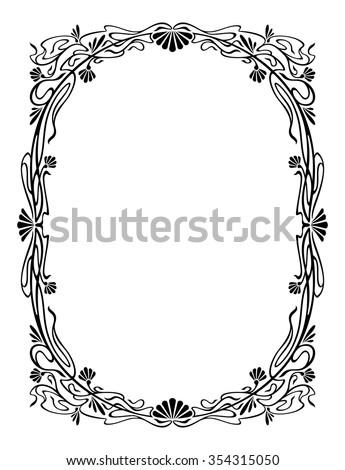Elegant silhouette frame - stock vector