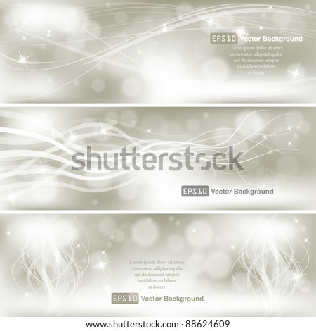 Elegant Silver Banner set. VECTOR EPS10 - stock vector