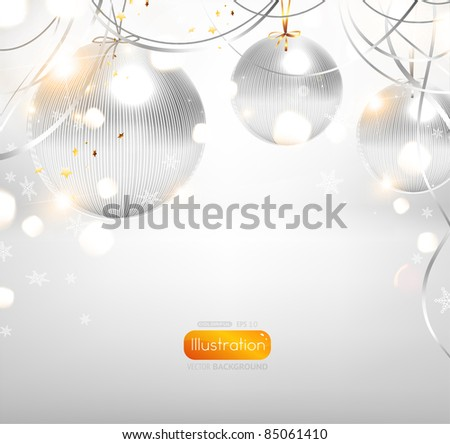 elegant silver christmas background with white baubles - stock vector