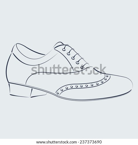 Elegant sketched man's shoe for Argentine tango dancing. Background can be easily removed. Design template for label, banner, postcard, logo. Vector. - stock vector