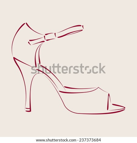 Elegant sketched woman's shoe for Argentine tango dancing. Background can be easily removed. Design template for label, banner, postcard, logo. Vector. - stock vector