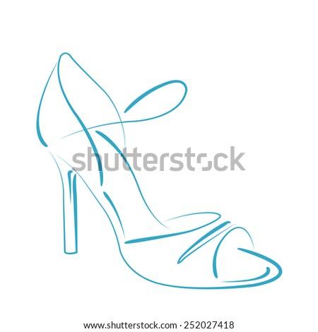 Elegant sketched woman's shoe for Argentine tango dancing. Design template for label, banner, postcard, logo. Vector illustration. - stock vector