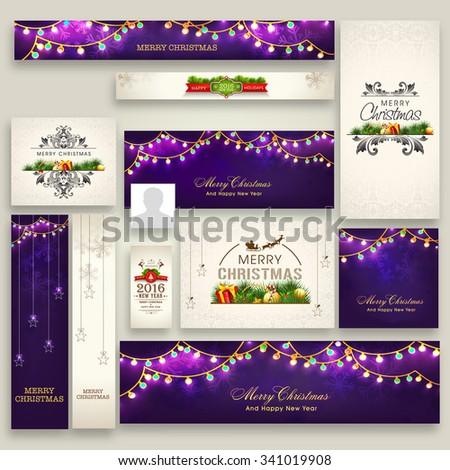 Elegant social media post, headers, ads or banners for Merry Christmas celebration. - stock vector