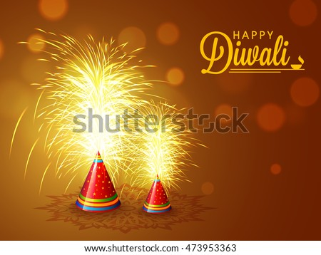 Elegant sparkle, Explosing Firecrackers on shiny brown background for Indian Festival of Lights, Happy Diwali Celebration.