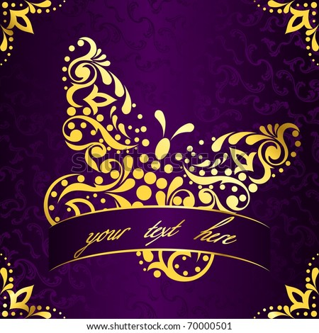 Elegant square easter frame in purple and gold (eps10); jpg version also available - stock vector