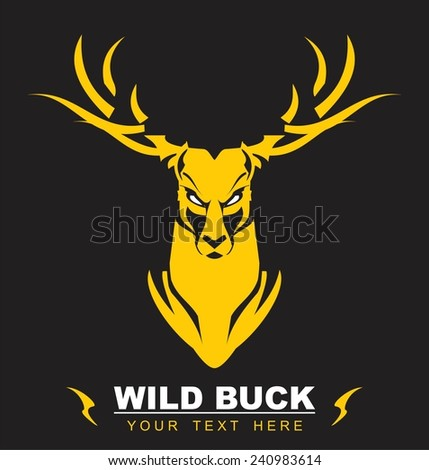 Elegant Staring Gold Buck, symbolizing the power, protection, dignity, etc. Suitable for team Mascot , community identity, product identity, illustration for apparel, clothing, book cover, etc - stock vector