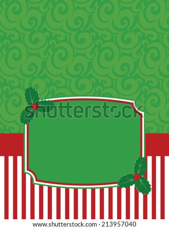 Elegant Striped Christmas Notecard with copy space-Christmas notecard to use for general announcements, seasonal baby showers, holiday wishes or as a thank you card for presents - stock vector