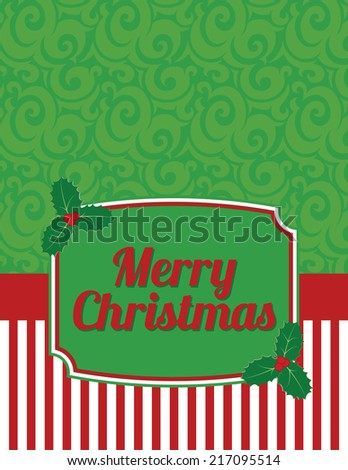 Elegant Striped Christmas Notecard with greeting-Christmas notecard to use for general announcements, seasonal baby showers, holiday wishes or as a thank you card for presents - stock vector