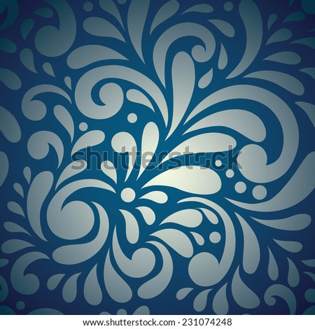 Elegant stylish abstract floral wallpaper. Seamless pattern in blue