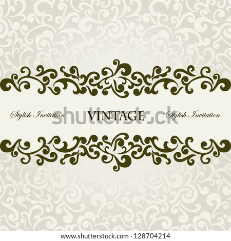 Elegant stylish invitation card, floral frame, seamless background - stock vector
