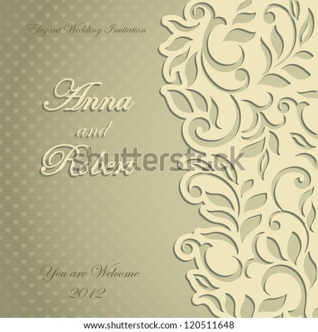 Elegant stylish Wedding Invitation, floral-lace design - stock vector