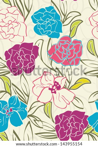 Elegant summer floral wallpaper - stock vector