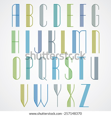 Elegant Tall Striped retro style artistic font, beautiful geometric patterned narrow lined letters typeface. Uppercase letters set. Vector. - stock vector