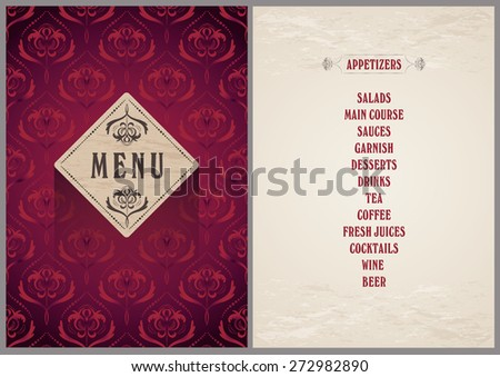 elegant template for the menu - luxury bright wine red color pattern background on the folder and light beige color background for the page - stock vector
