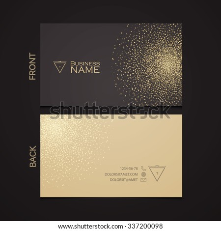 Elegant Template Luxury Business Card with Gold Dust & Place for Text. Particles Background. Vector illustration  - stock vector